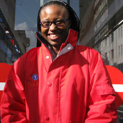 Gugu Makhubu is Rea Vaya ambassador at the Carlton Station Westbound