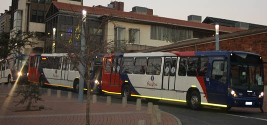 Rea Vaya buses line up in Conhill to take fans to a match during the 2010 Fifa World Cup