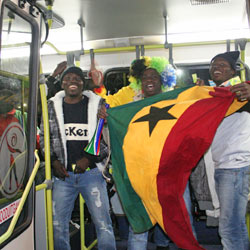 Ghana fans on their way to a match