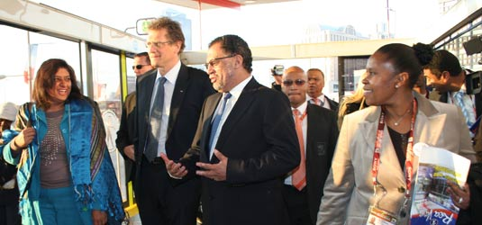 Joburg's mayoral committee member for transport, Rehana Moosajee, and the executive director of the 2010 office, Sibongile Mazibuko, welcome FIFA's Jerome Valcke and the OC's Danny Jordaan to the Rea Vaya Westgate Station